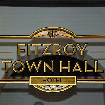 fitzroy town hall hotel reverse gold leaf gilded window sign square