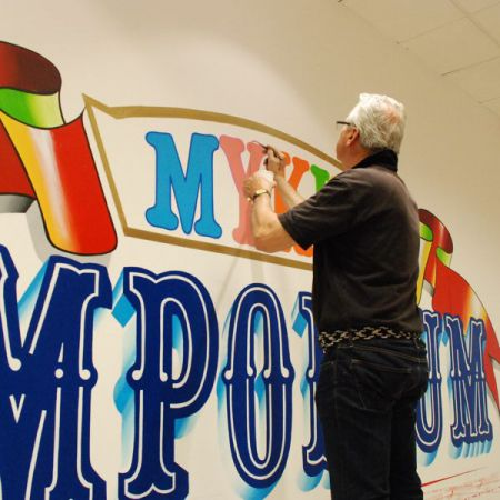 Bespoke Hand Painted Wall Mural Signage. Myer MyKids Emporium, Melbourne.