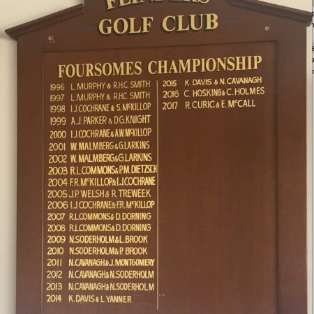 Gold Leaf Lettering on Honour Board - Flinders Golf Club