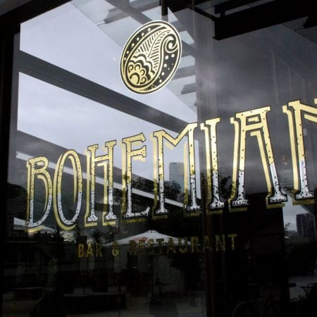 Bohemian Bar & Restaurant, Docklands, Melbourne. 24kt Gold & Silver Leaf Blended Effect Window.