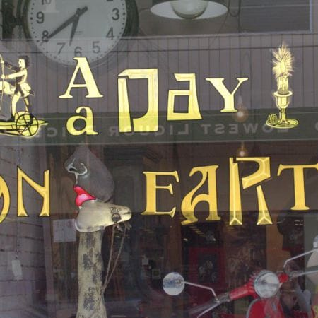 Artistic Creative Gold Leaf Signage, A Day On Earth, Chapel Street, Prahran