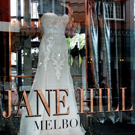 24kt pure copper leaf signwriting on shopfront. Jane Hill , Melbourne.