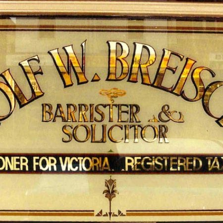 Rolf W. Breisch, Barrister & Solicitor.  Gold Leaf Lettering On Glass/Window